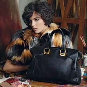 Fendi Chameleon Black Leather Zip Top 2 Way Bag